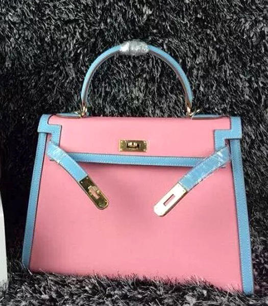 Hermes Kelly 32cm Palmprint Leather Cherry Pink/Light Blue Golden Lock