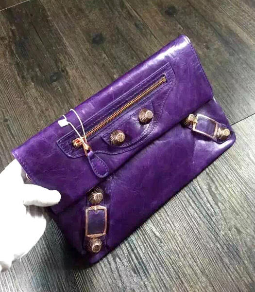 Balenciaga Classic Oil Wax Leather Clutch Dark Purple