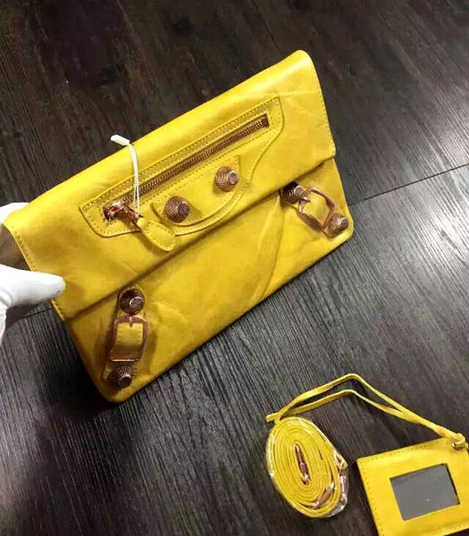 Balenciaga Classic Oil Wax Leather Clutch Mustard Yellow