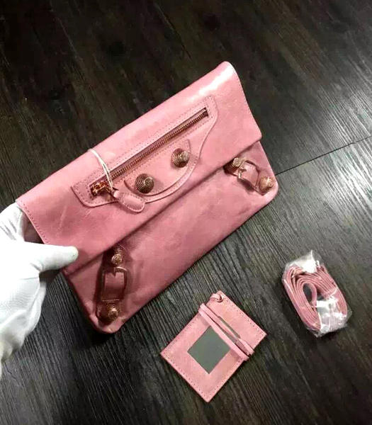 Balenciaga Classic Oil Wax Leather Clutch Pink