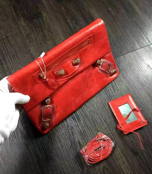 Balenciaga Classic Oil Wax Leather Clutch Red