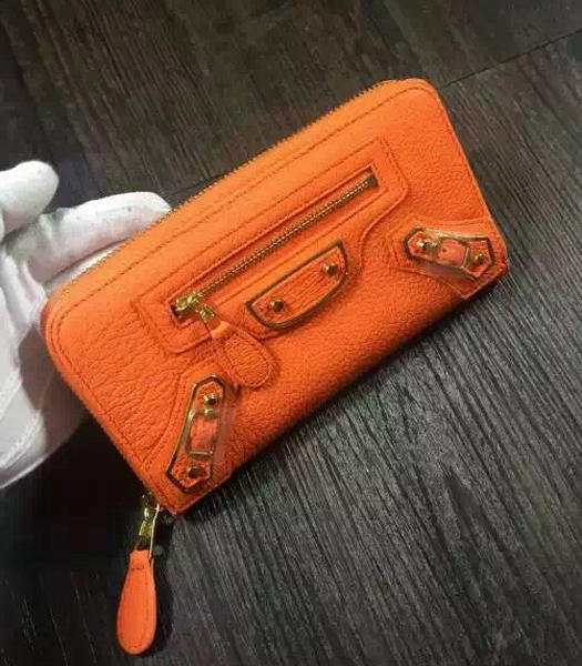 Balenciaga Top-quality Sheepskin Zipper Wallet Orange