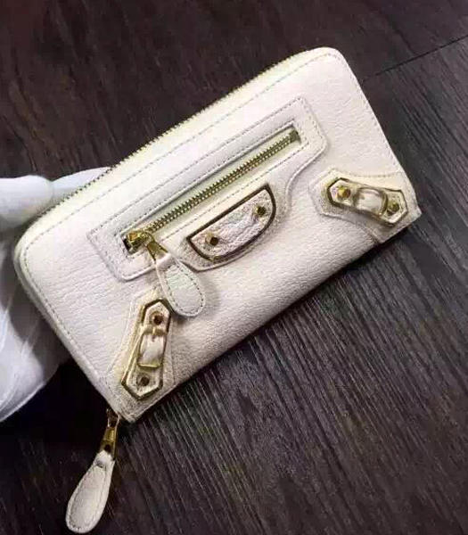 Balenciaga Top-quality Sheepskin Zipper Wallet Offwhite
