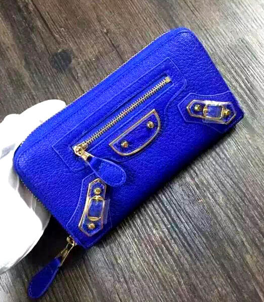 Balenciaga Top-quality Sheepskin Zipper Wallet Electric Blue