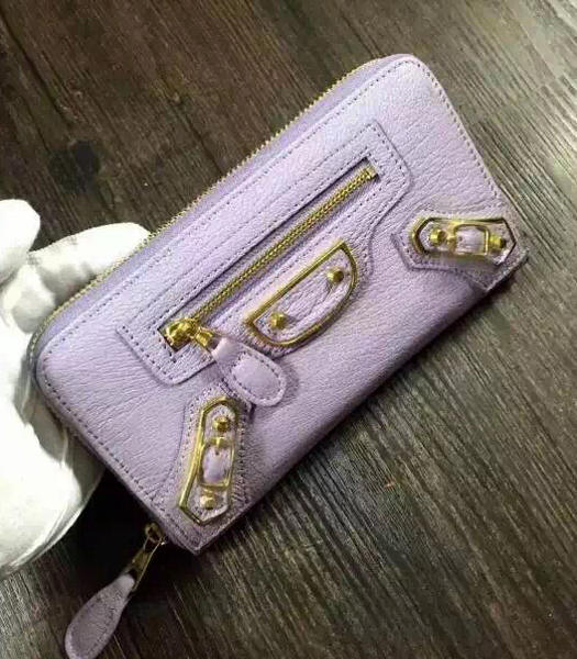 Balenciaga Top-quality Sheepskin Zipper Wallet Lavender Purple
