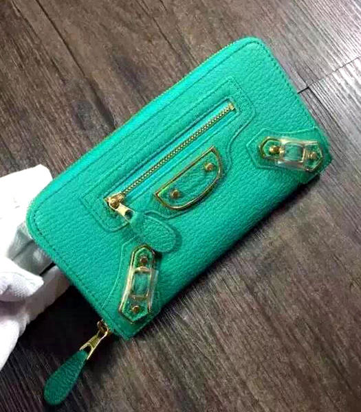 Balenciaga Top-quality Sheepskin Zipper Wallet Green