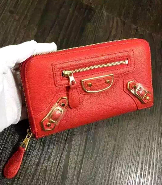 Balenciaga Top-quality Sheepskin Zipper Wallet Red