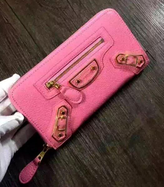 Balenciaga Top-quality Sheepskin Zipper Wallet Pink