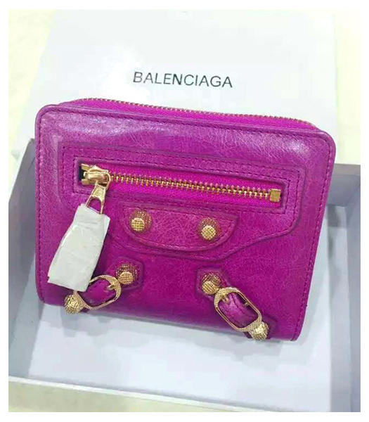 Balenciaga New Style Oil Wax Leather Zipper Wallet Purple