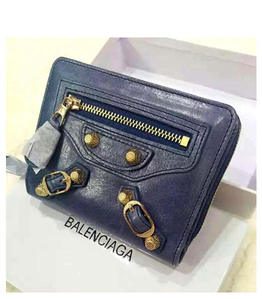 Balenciaga New Style Oil Wax Leather Zipper Wallet Grey Blue