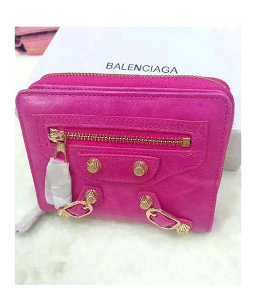 Balenciaga New Style Oil Wax Leather Zipper Wallet Peach Red
