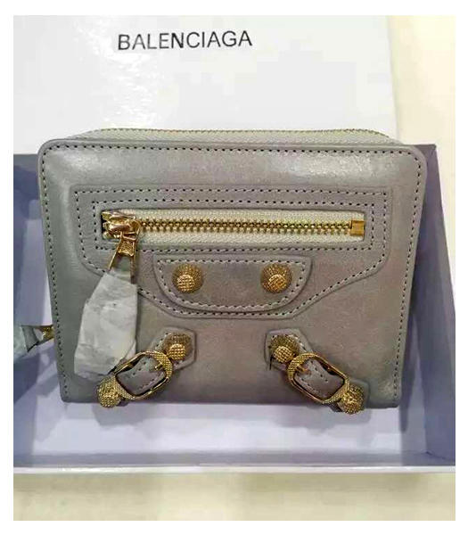 Balenciaga New Style Oil Wax Leather Zipper Wallet Grey White