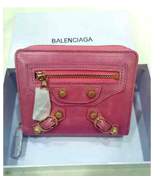 Balenciaga New Style Oil Wax Leather Zipper Wallet Pink