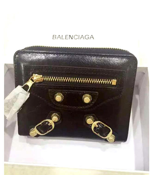 Balenciaga New Style Oil Wax Leather Zipper Wallet Black