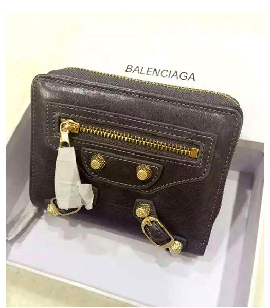 Balenciaga New Style Oil Wax Leather Zipper Wallet Dark Grey