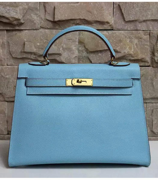 Hermes Kelly 32cm Light Blue Palmprint Leather Bags Golden Metal