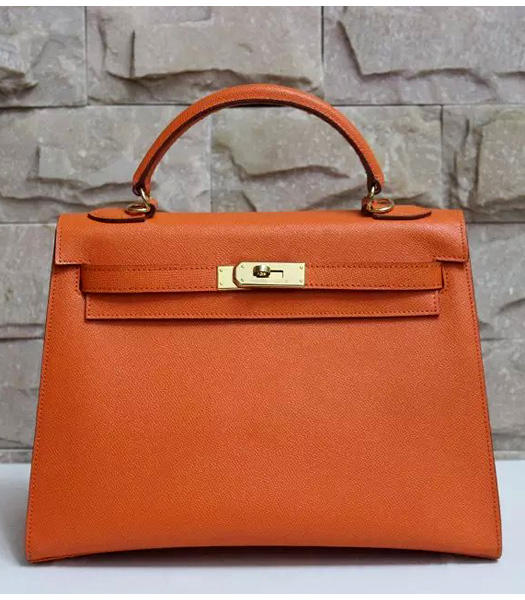 Hermes Kelly 32cm Orange Palmprint Leather Bags Golden Metal