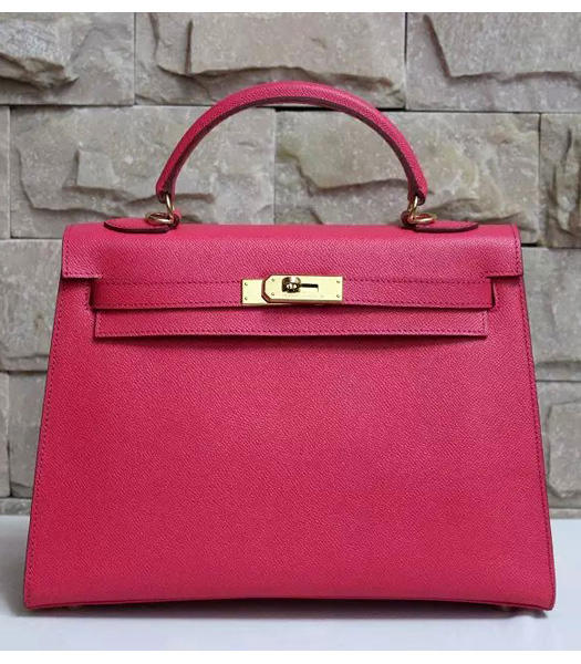 Hermes Kelly 32cm Rose Red Palmprint Leather Bags Golden Metal