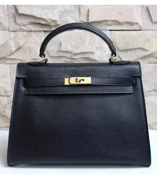 Hermes Kelly 32cm Black Palmprint Leather Bags Golden Metal
