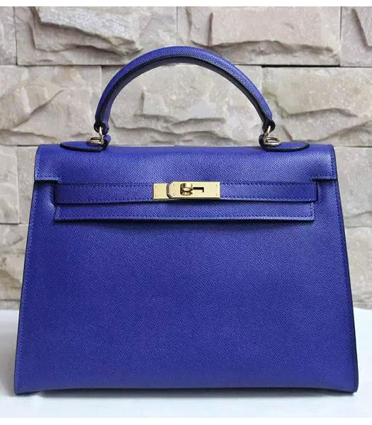 Hermes Kelly 32cm Blue Palmprint Leather Bags Golden Metal
