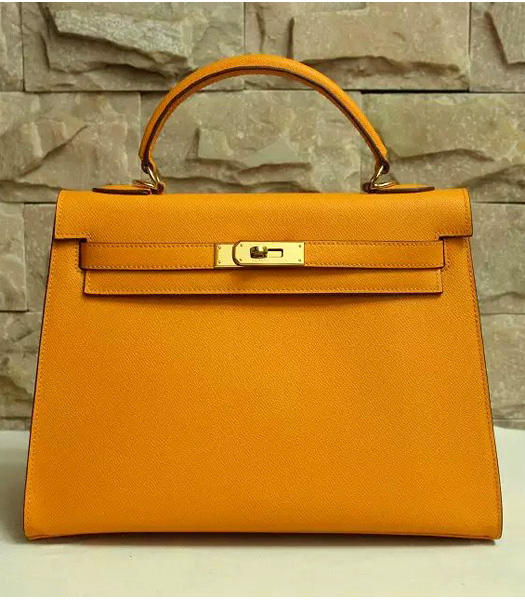 Hermes Kelly 32cm Dark Yellow Palmprint Leather Bags Golden Metal