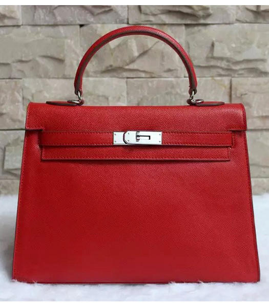 Hermes Kelly 32cm Red Palmprint Leather Bags Silver Metal