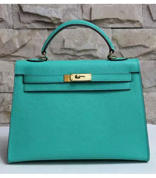 Hermes Kelly 32cm Blue Green Palmprint Leather Bags Golden Metal
