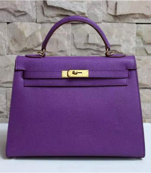 Hermes Kelly 32cm Purple Palmprint Leather Bags Golden Metal