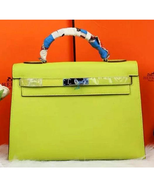 Hermes Kelly 32cm Apple Green Palmprint Leather Bags Golden Metal