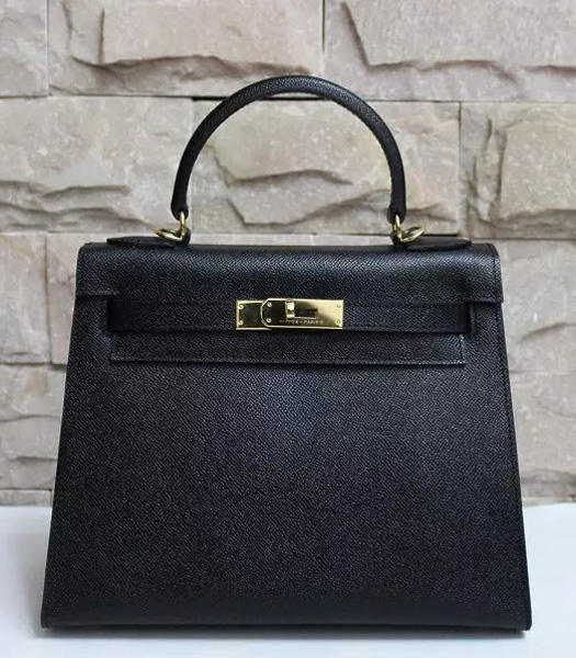 Hermes Kelly 28cm Black Palmprint Leather Bags Golden Metal