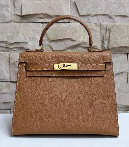 Hermes Kelly 28cm Earth Yellow Palmprint Leather Bags Golden Metal