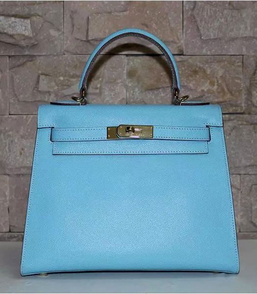 Hermes Kelly 28cm Light Blue Palmprint Leather Bags Golden Metal