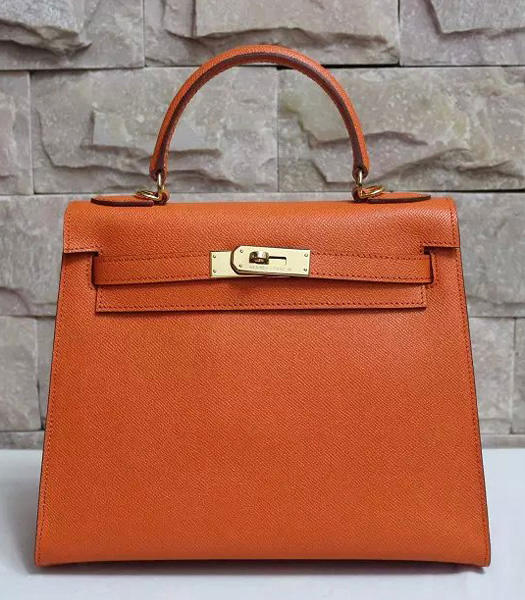 Hermes Kelly 28cm Orange Palmprint Leather Bags Golden Metal