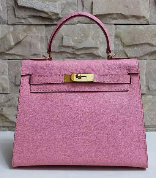 Hermes Kelly 28cm Cherry Pink Palmprint Leather Bags Golden Metal