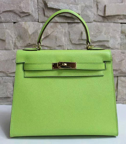 Hermes Kelly 28cm Apple Green Palmprint Leather Bags Golden Metal