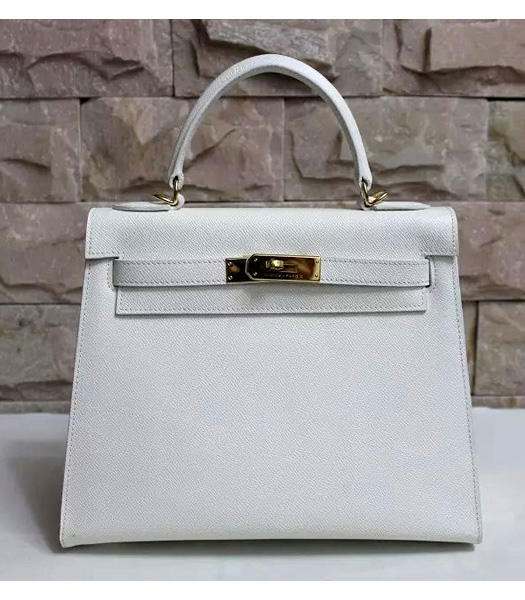 Hermes Kelly 28cm White Palmprint Leather Bags Golden Metal
