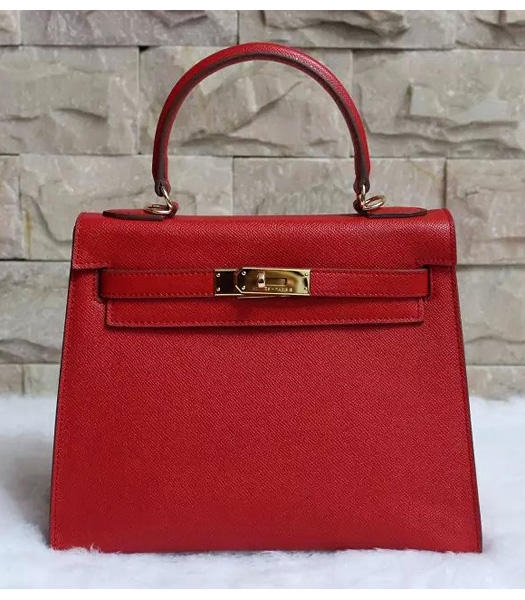 Hermes Kelly 28cm Red Palmprint Leather Bags Golden Metal
