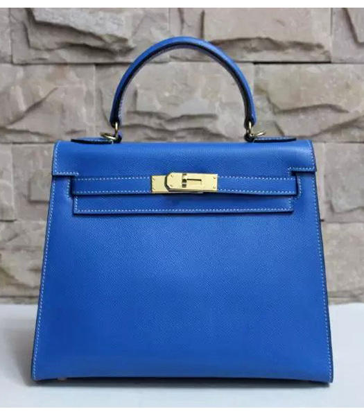 Hermes Kelly 28cm Lake Blue Palmprint Leather Bags Golden Metal