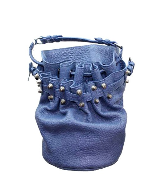 Alexander Wang 49981 Diego Bucket Bags Light Blue Leather Silver Nail