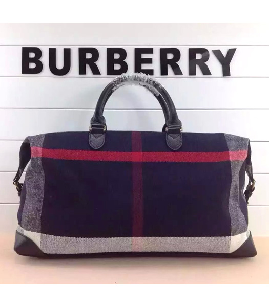 Burberry Canvas Check With Leather Large Travel Bags Dark Blue