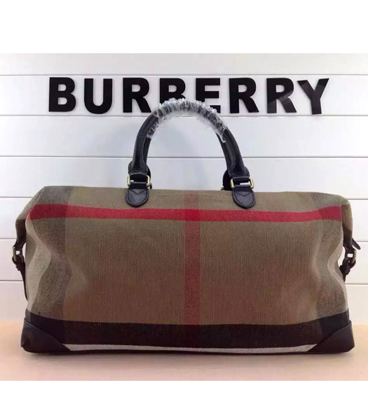 Burberry Canvas Check With Leather Large Travel Bags Brown