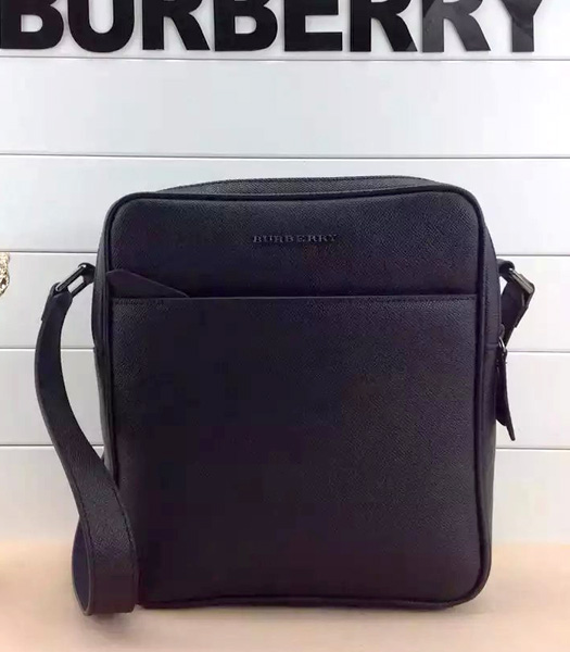 Burberry London Grey Leather Messenger Bag In Black