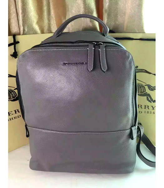 Burberry Classical Grey Calfskin Leather Medium Men Backpack