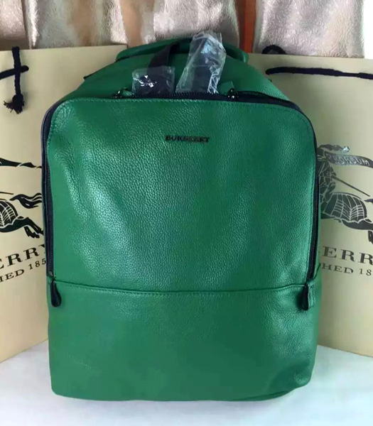 Burberry Classical Green/Black Calfskin Leather Medium Men Backpack