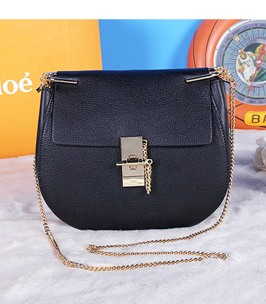 Chloe Drew Medium Bags Black Leather Golden Chain