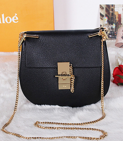 Chloe Drew Small Bags Black Leather Golden Chain