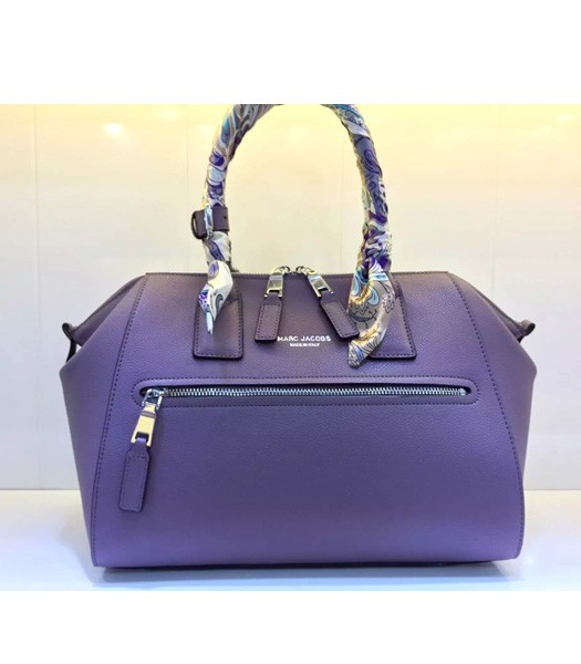 Marc Jacobs Litchi Veins Leather Top Handle Bag In Purple