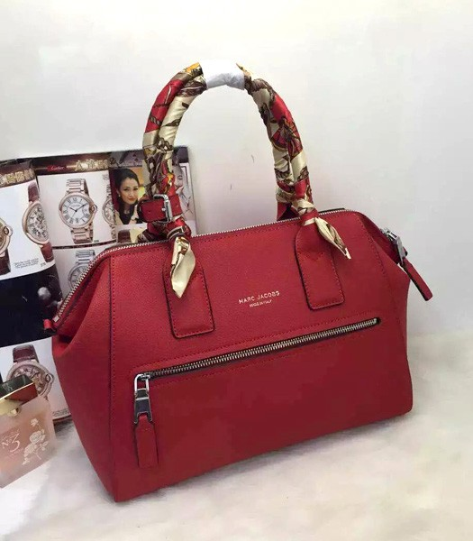 Marc Jacobs Litchi Veins Leather Top Handle Bag In Red