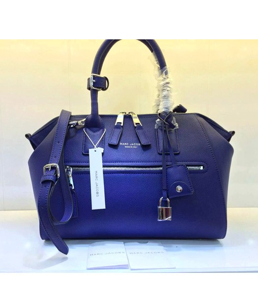 Marc Jacobs Litchi Veins Leather Top Handle Bag In Blue