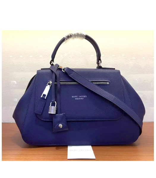 Marc Jacobs Litchi Veins Leather Flap Tote Bag In Sapphire Blue